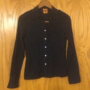 Tory Burch Shear Navy Blue Cotton Blouse
